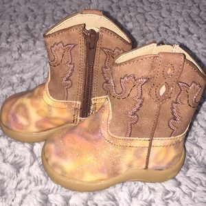 Roper Glitter Brown Baby Boots Size 2